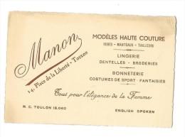 TOULON (83) Carte De Visite Manon 14 Place De La Liberté Mode Haute Couture - Visiting Cards