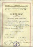 CROATIA, NDH, NEZAVISNA  DRZAVA HRVATSKA --  SCHOOL DIPLOMA,  VOCATIONAL SCHOOL    1941  -- TIMBRE FISCAL, TAX STAMP - Diplome Und Schulzeugnisse