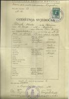 CROATIA, NDH, NEZAVISNA  DRZAVA HRVATSKA --  SCHOOL DIPLOMA, CERTIFICATE, GYMNASIUM    1942  -- TIMBRE FISCAL, TAX STAMP - Diplome Und Schulzeugnisse