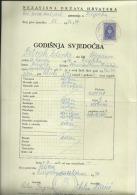 CROATIA, NDH, NEZAVISNA  DRZAVA HRVATSKA --  SCHOOL DIPLOMA, CERTIFICATE, GYMNASIUM    1944  -- TIMBRE FISCAL, TAX STAMP - Diplome Und Schulzeugnisse