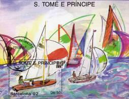 Olympiade Barcelona 1992 Segeln Sankt Thomas/Prinzen-Insel Block 195 O 9€ Hojas M/s Sport Bloc Olympic Sheet Bf Sao Tome - Vela