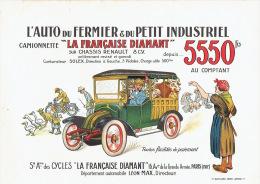 """Affichette originale 1924 Camionette """"LA FRANCAISE DIAMANT"""" sur ch�ssis RENAULT 8 CV illustr� par FERNEL (30 x 22.5 cm)"""