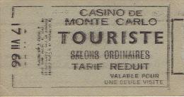 Ticket D'entrée De 1966 CASINO DE MONTE CARLO - Touriste - Salons Ordinaires - Tickets - Entradas