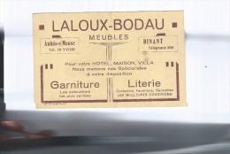 Anhée Sur Meuse / Laloux-Bodau / Meubles / Carte Publicitaire 1941 / 14cm X 9cm. - Documents Historiques