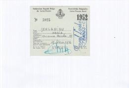 Laken / Laeken / Royal Laeken Tennis Club / Lidkaart - Carte De Membre / 1952 - Documents Historiques