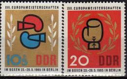 Boxen Europa-Meisterschaften 1965 DDR 1100/1 ** 1€ Boxhandschuh Zweige Lorbeerkranz Box Sport Olympic Set Of GDR Germany - Boxing