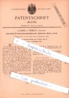 Original Patent  - A. Kaiser In Freiburg , Schweiz 1884 ,  Zählwerk Für Uhren , Uhrmacher !!! - Documents Historiques