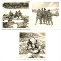 Militaires, Regiment, Montagne Marche, Lot De 3 Photos A Identifie   (bon Etat) Dim: 8 X 8. - Guerra, Militari