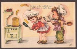 Jolie Carte Fantaisie Avec Des Enfants Dans La Cuisine. - Children's Drawings