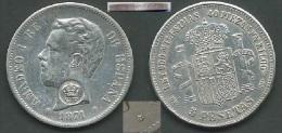AZORES SPAIN 1871 5 PTAS AMADEO I RESEALING FOR AZORES RESELLADO ESTRELLA 18-73 DEM USED VERY GOOD CONSERVATION - Açores