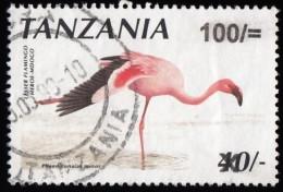 """TANZANIA - Scott #2157 Phoeniconaias Minor """"Surcharged""""/ Used Stamp - Tansania (1964-...)"""