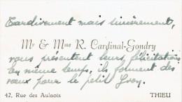 Carte De Visite De M. Et Mme R. Cardinal Gondry, Rue Des Aulnois, Thieu, Le Roeulx (1947) - Cartes De Visite