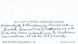 Carte De Visite De M. Et Mme Victor Legrand André, Rue Coquereau, Bois-d'Haine (1947) - Cartes De Visite