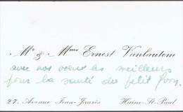 Carte De Visite De M. Et Mme Ernest Vanlautem, Avenue Jean Jaurès, Haine St Paul (1947) - Cartes De Visite