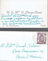 Carte De Visite De M. Et Mme N. Pieraert Barez, Pâtisserie, Rue Paul Janson, La Louvière (1947) - Cartes De Visite