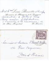 Carte De Visite De M. Et Mme Louis Bassette Pharmacie Et Droguerie, Place Maugrétout, La Louvière (1947) - Cartes De Visite