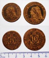 MONNAIES EN CARTON. 10 ET 5 CENTIMES 1917.UNION COMMERCIALE DE BRIVE. NECESSITE