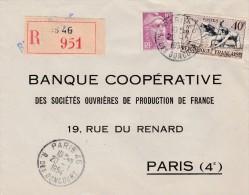 Sur Recommandée De Paris 46 R. Des Goncourts  Yvert  963 Canoé  Et  811 Gandon - Marcofilia (sobres)