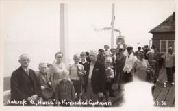 Carte Photo Originale Navire - Quai D'embarquement Du Ankunft D. Hansa - Im Nordseebad Cuxhaven Le 07.07.1936