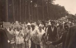 Carte Photo Originale Cavalcade - D�fil�, F�te d'�cole ou de village - Procession ? - Foule dans la for�t -