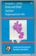 Landkarte Stadtplan Aachen 1993 7. Auflage Kreiskarte 41 / 1 : 50 000 Deutschland Nordrhein-Westfalen NRW Germany Map - Maps Of The World