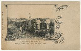 Railroad Cars With A Load Of Sugar Cane Carros Cargados De Cana No 127 La Moderna Poesia Train Tren - Cuba