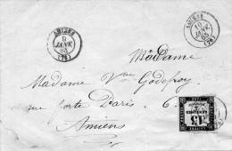 Taxe N°3 Sur Lettre Sans Correp. D´AMIENS Le 9/1/65 - 1849-1876: Klassik