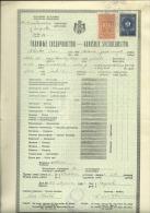 KINGDOM OF YUGOSLAVIA --  SCHOOL DIPLOMA, CERTIFICATE, GYMNASIA  --  1935  -- TIMBRE FISCAL, TAX STAMP - Diplome Und Schulzeugnisse