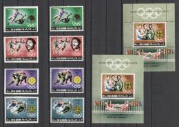 Ras Al Khaima Olympics Olympic Soccer Hockey Mi#312-315 A/B Bl#71 A/B MNH - Sommer 1968: Mexico