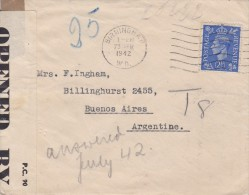 Great Britain; Censored Cover To Argentina 1942 - Cartas