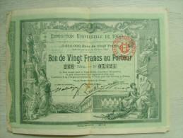 """Bon De Vingt Françs Au Porteur """"  Exposition Universelle De 1900  """"  8 Pages Complet - 3 Scans - Tourisme"""