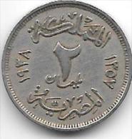 Egypte 2 Milliemes 1938   Km 359  Vf+ - Egypte