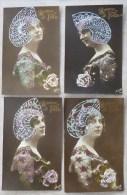LOT 4x Photo MESANGE 145 Portrait Meme Femme Fete Catherine Coiffe Chapeau Special Robe Aquarelle Points PAILLETTES - Sint Catharina