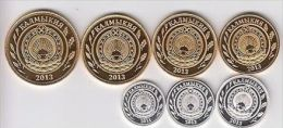 KALMUKIA (RUSSIA) Set 7pcs 2013, Unusual Coinage - Monete