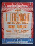 Affiche DRONGEN ( Gent ) 1ste Leie-Nacht 1959 Meiresonne bier Celta-Pils Golf Kasteel Ter Keuze poster ZGS