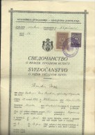 KINGDOM OF YUGOSLAVIA  -  SCHOOL DIPLOMA, CERTIFICATE  --   GYMNASIA   --  1938  - TIMBRE FISCAL, TAX STAMP - Diplome Und Schulzeugnisse