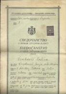 KINGDOM OF YUGOSLAVIA  -  SCHOOL DIPLOMA, CERTIFICATE  --   1. FEMALE  GYMNASIA   --  1934  - TIMBRE FISCAL, TAX STAMP - Diplome Und Schulzeugnisse