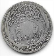 *egypte 5 Piastres 1917     Km 318.1  Vf - Egypte