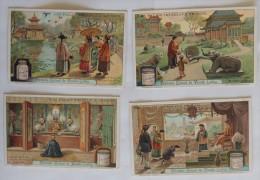 Lot De 4 Cartes Liebig : Palais Impériaux Chinois : Cerfs-volants, Pavillon, Bonze, Réception - Liebig
