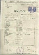 CROATIA, NDH, NEZAVISNA  DRZAVA HRVATSKA --  SCHOOL DIPLOMA, CERTIFICATE, GYMNASIA    1945  -- TIMBRE FISCAL, TAX STAMP - Diplome Und Schulzeugnisse