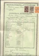 KINGDOM OF YUGOSLAVIA --  SCHOOL DIPLOMA, CERTIFICATE, GYMNASIA    1940  -- TIMBRE FISCAL, TAX STAMP - Diplome Und Schulzeugnisse
