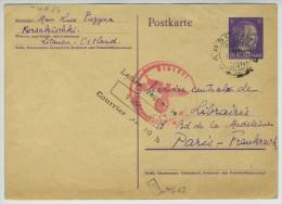 Lietuva. Lituanie. Entier Deutsches Reich Ostland de 1943 de Karsokiskis � Paris.  Censure allemande.