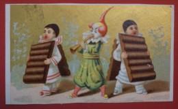Chromo Fonds Or - 2 Pierrots Et Chocolat - Matte Et Fils - La Faveur - Chromos