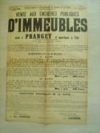 """52 haute marne - prangey """" vente aux ench�res publiques d�immeubles  """" 1906 - 62 cms x 43 cms"""