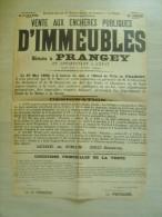 """52 haute marne - prangey """" vente aux ench�res publiques d�immeubles  """" 1908 - 62 cms x 43 cms"""