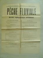"""52 haute marne  """" peche fluviale - arr�t� reglementaire permanent  """" 1926 - 65 cms x 51 cms"""