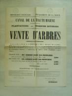 """52 haute marne """" canal de la haute marne - vente d'arbres """" 1886 - 52 cms x 40 cms"""