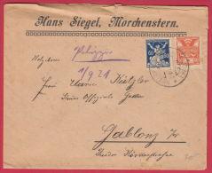 201221 / 1921 - 20 + 60 H. - Liberated Republic , POST DOVE - HANS SIEGEL , MORCHENSTERN  - GABLONZ , Czechoslovakia - Tchécoslovaquie