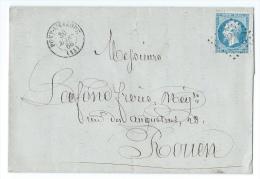 LETTRE 20c Empire 1866 Pont L'évêque A Rouen GC - Marcophilie (Lettres)