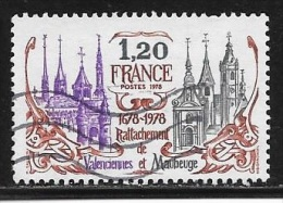N° 2016   FRANCE  -  OBLITERE  -  300E ANNIV. RATTACHEMENT VALENCIENNES ET MAUBEUGE  -  1978 - France
